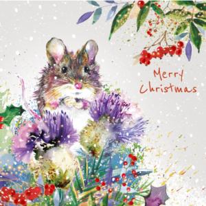 Fluffy Mouse Christmas Card 2021