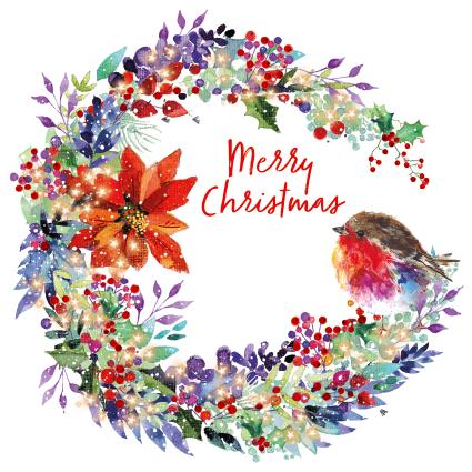 Robin and Wreath Christmas Card 2021