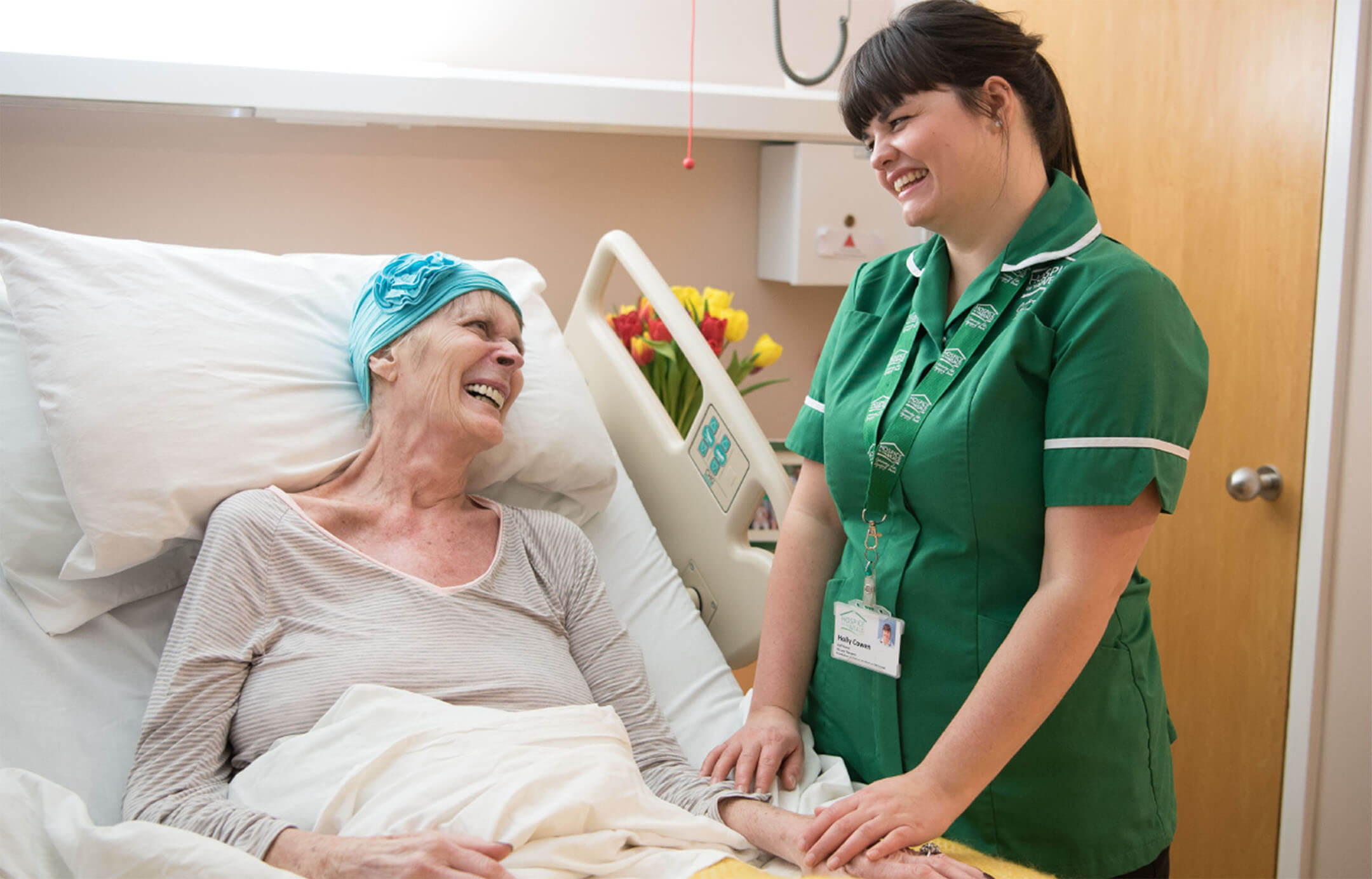 Patient in hospice care with nurse