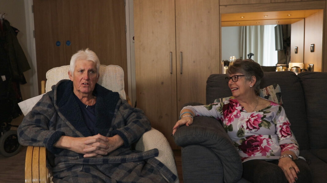 John and his wife Beverley in their room at Cottage Hospice