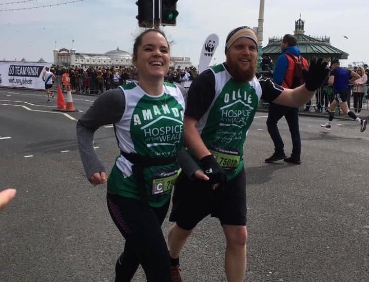 Amanda and Ollie running the Brighton Marathon