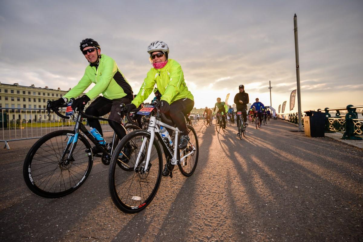 Brighton Ride two cyclists at dawn