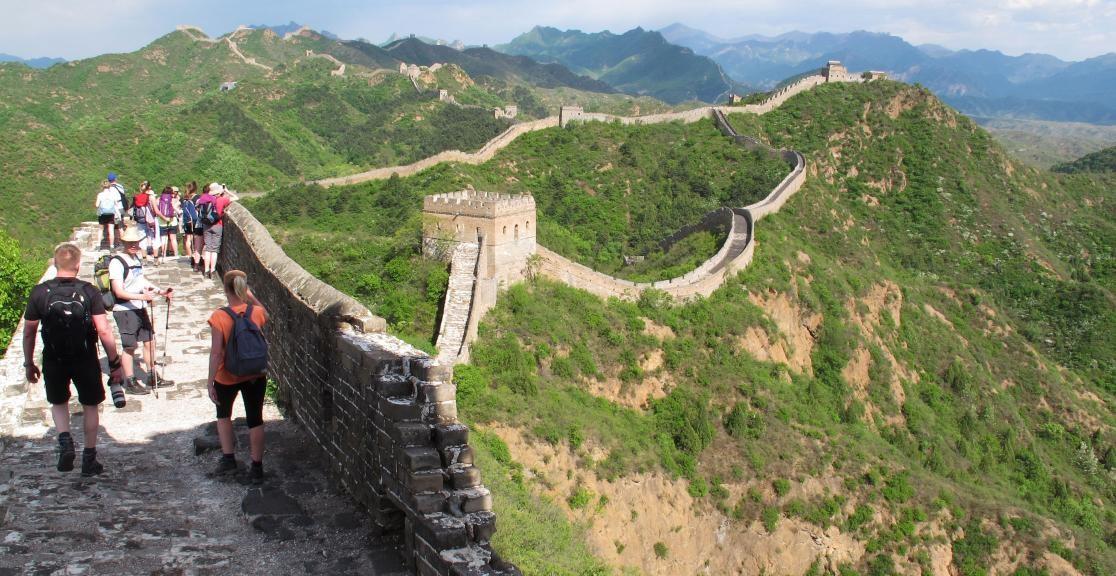 Long shot of Great Wall of China