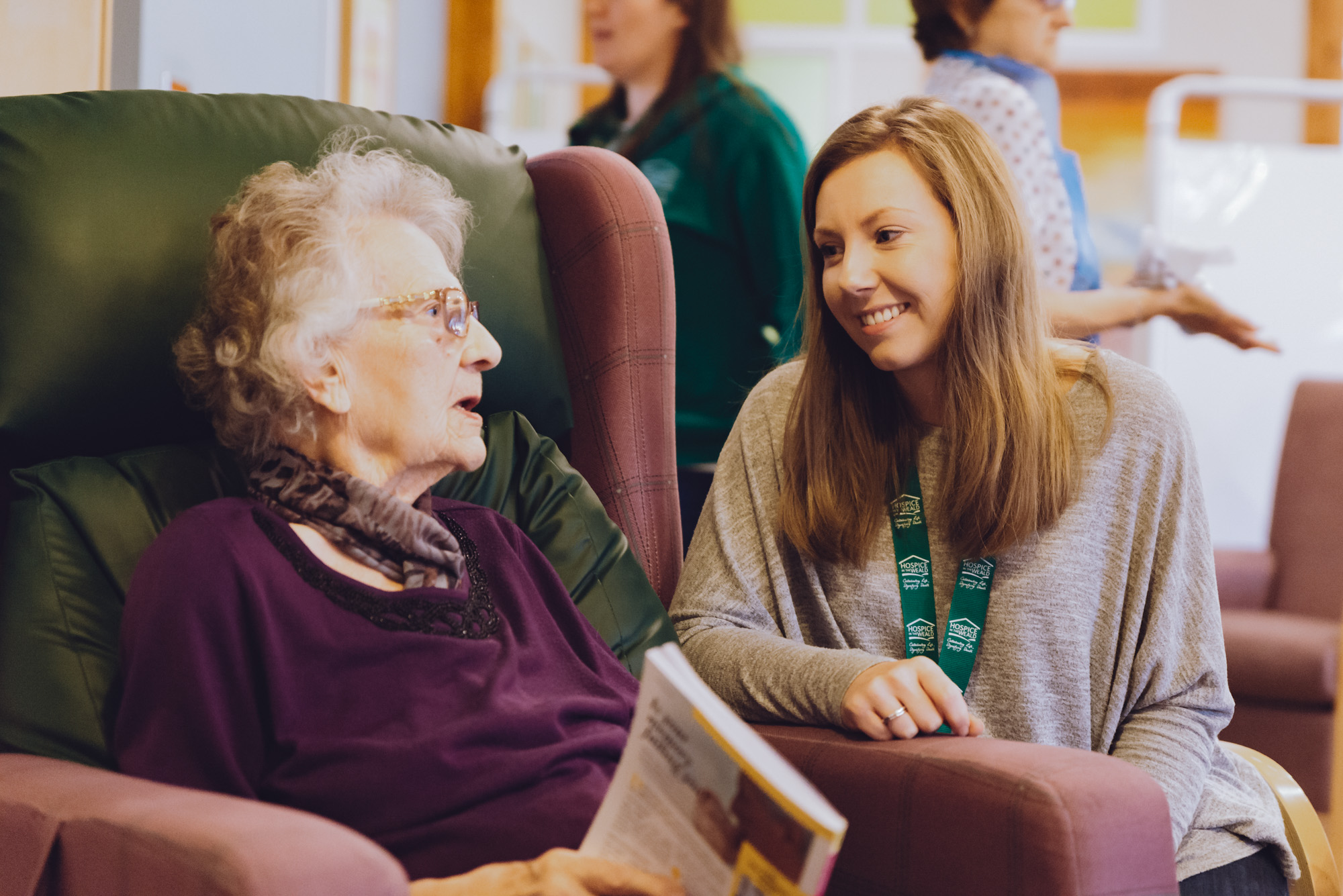 Hannah with Patient in Hospice Day Service