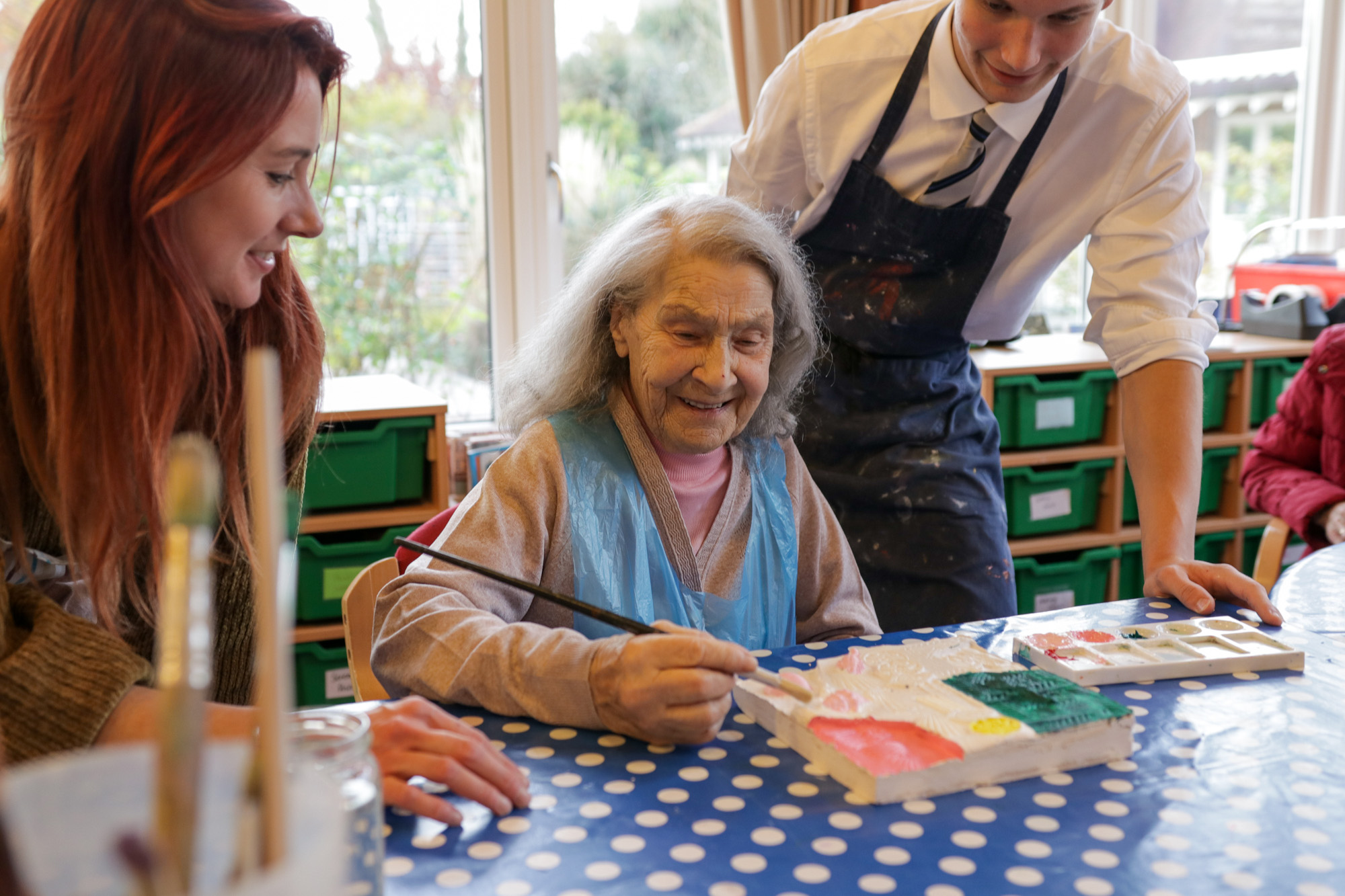 Hospice Day Service patient with volunteers patient a canvas