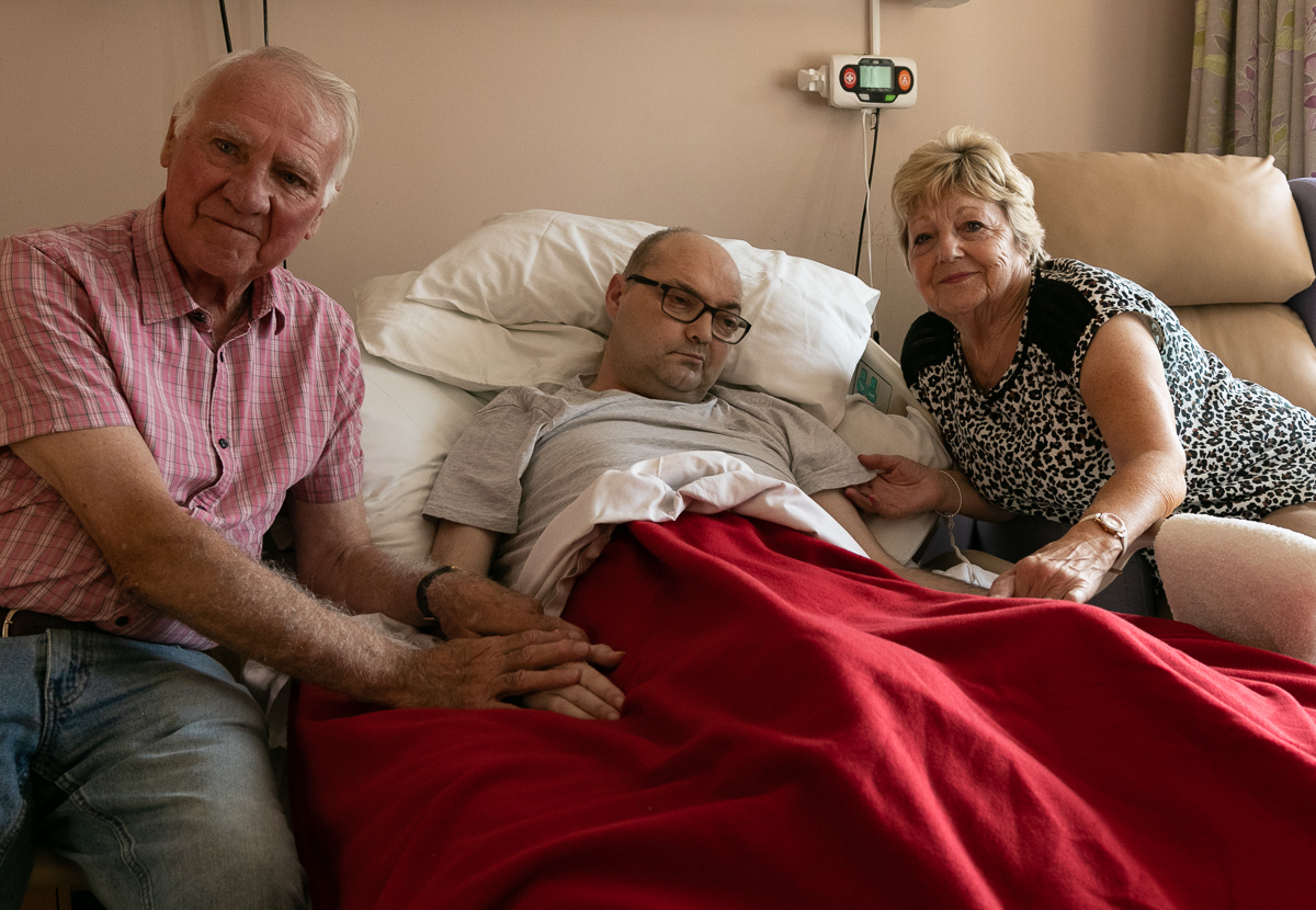 Tim and Gill with their Son Simon who was staying on our In Patient Ward