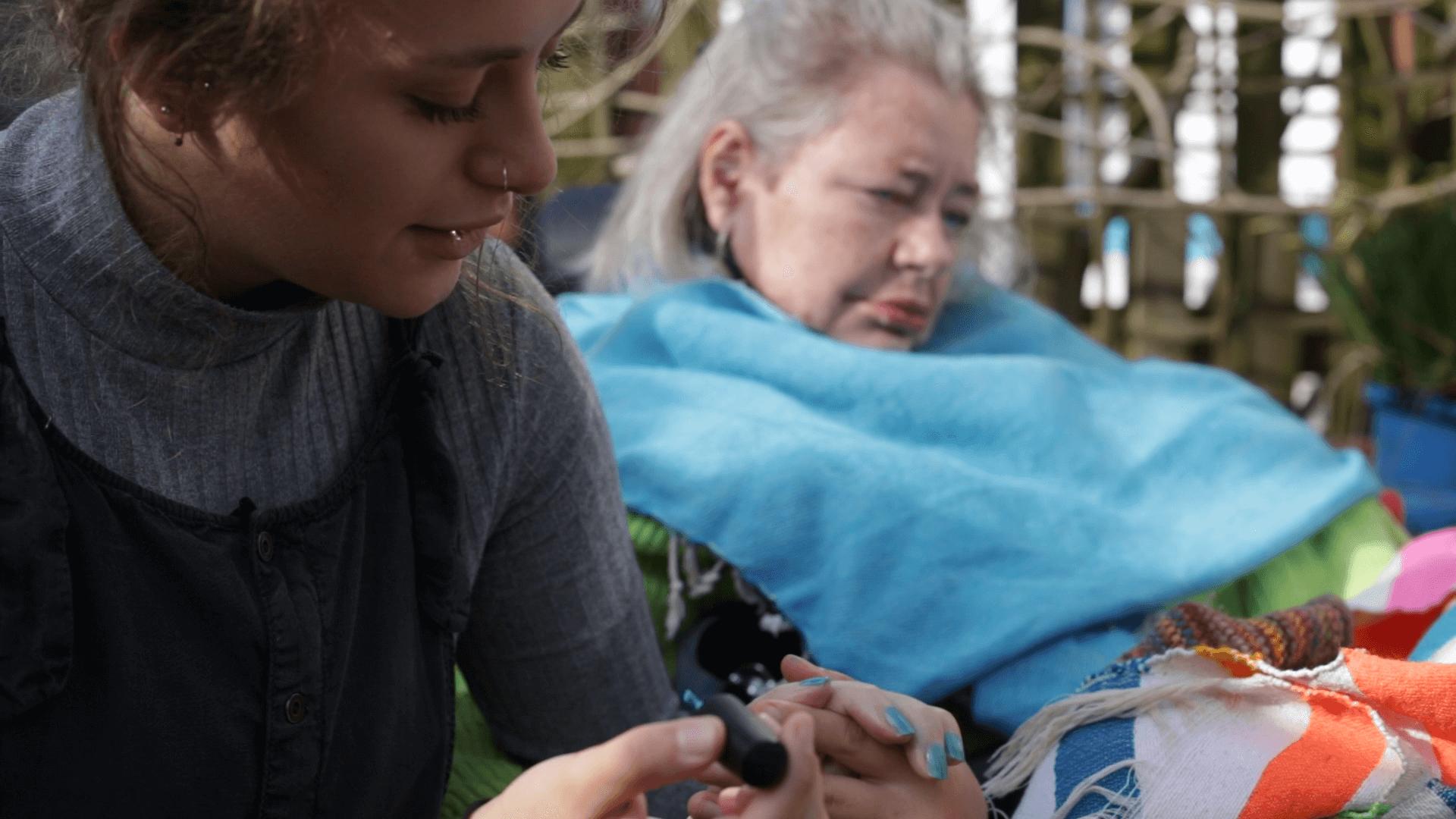 Jess painting her mum's nails
