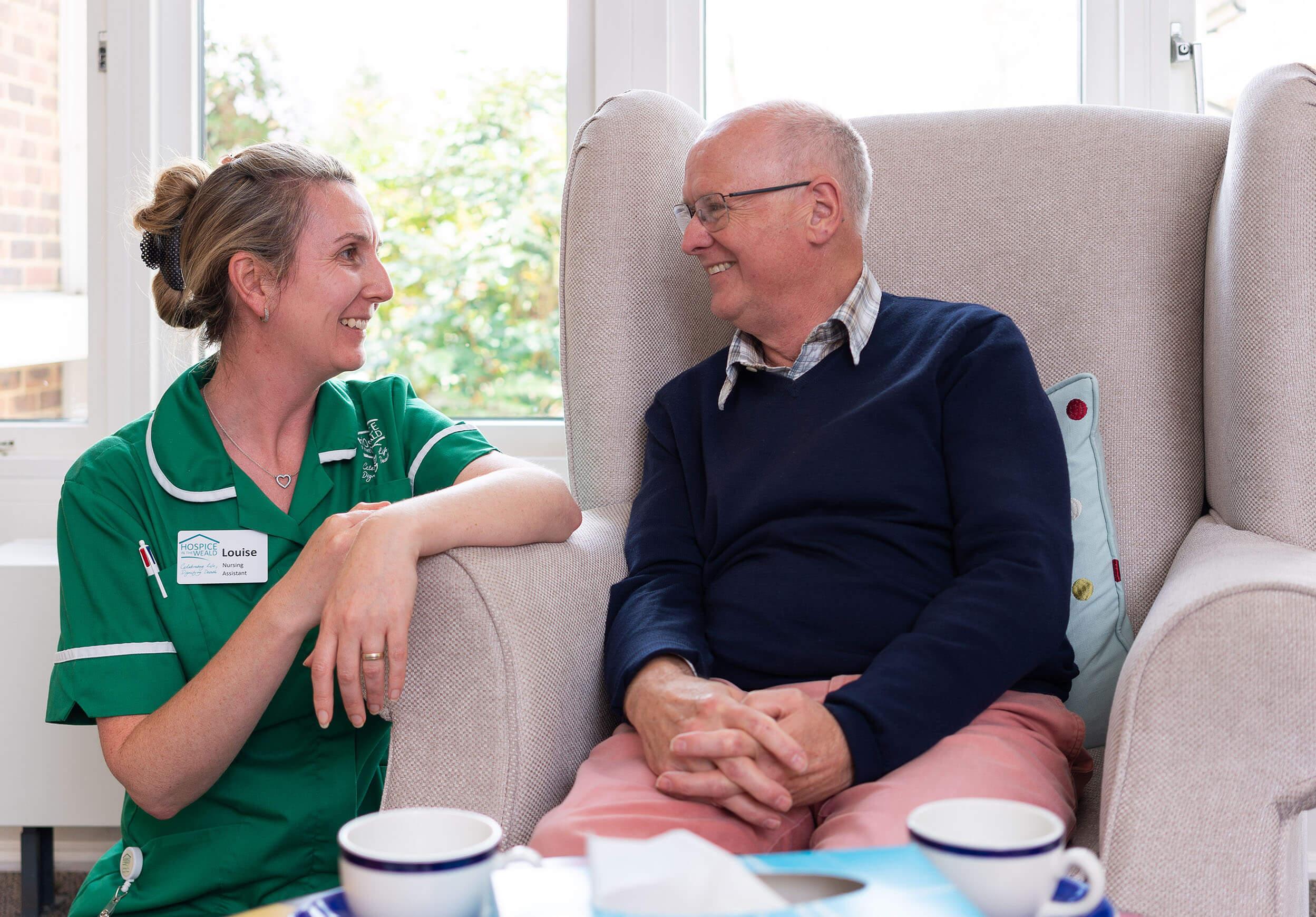 Male patient with hospice nurse