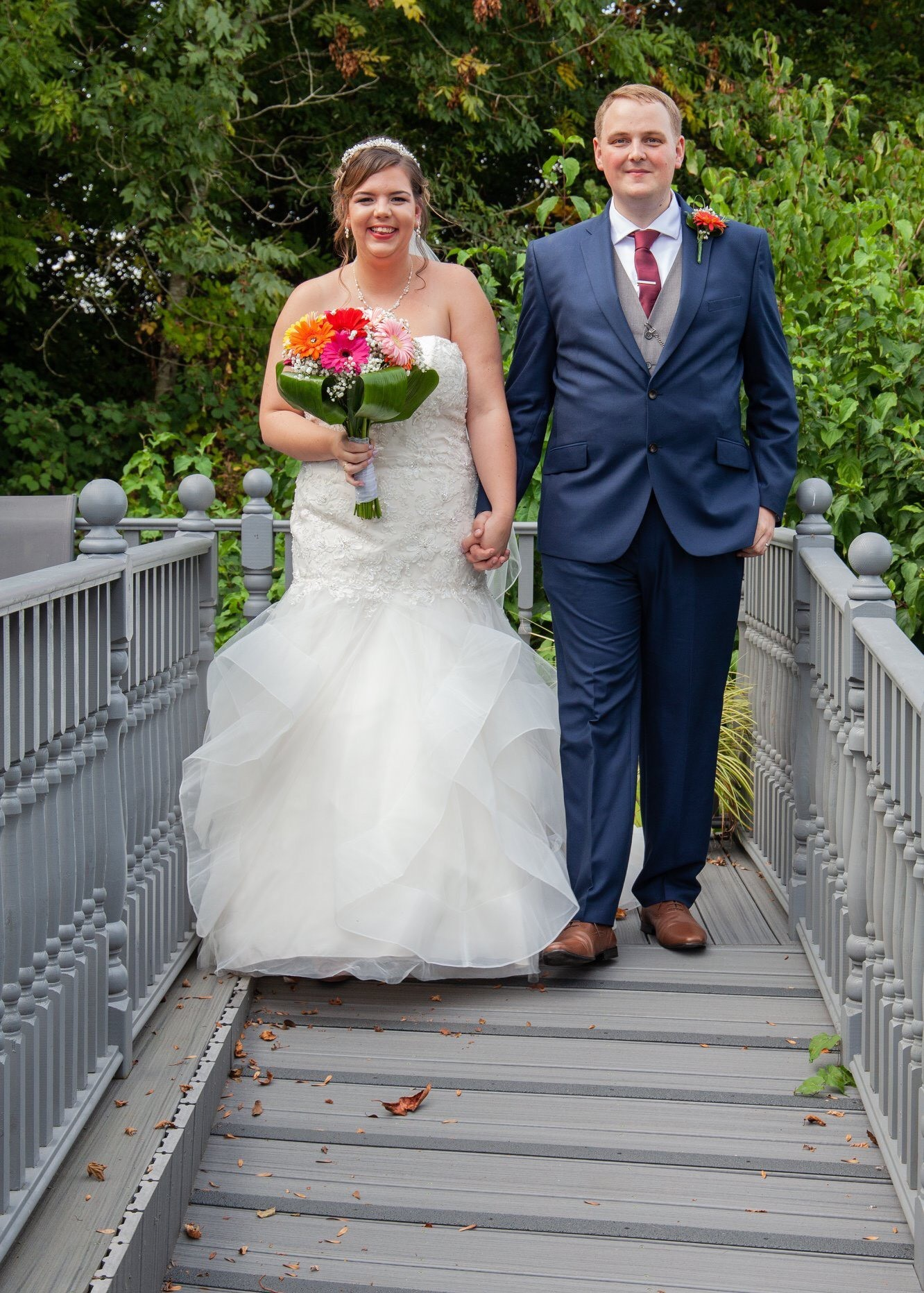 Nichola and Tom in the Hospice Garden on their Wedding Day