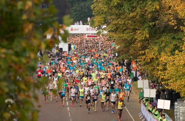 Aerial shot of Royal Parks start line