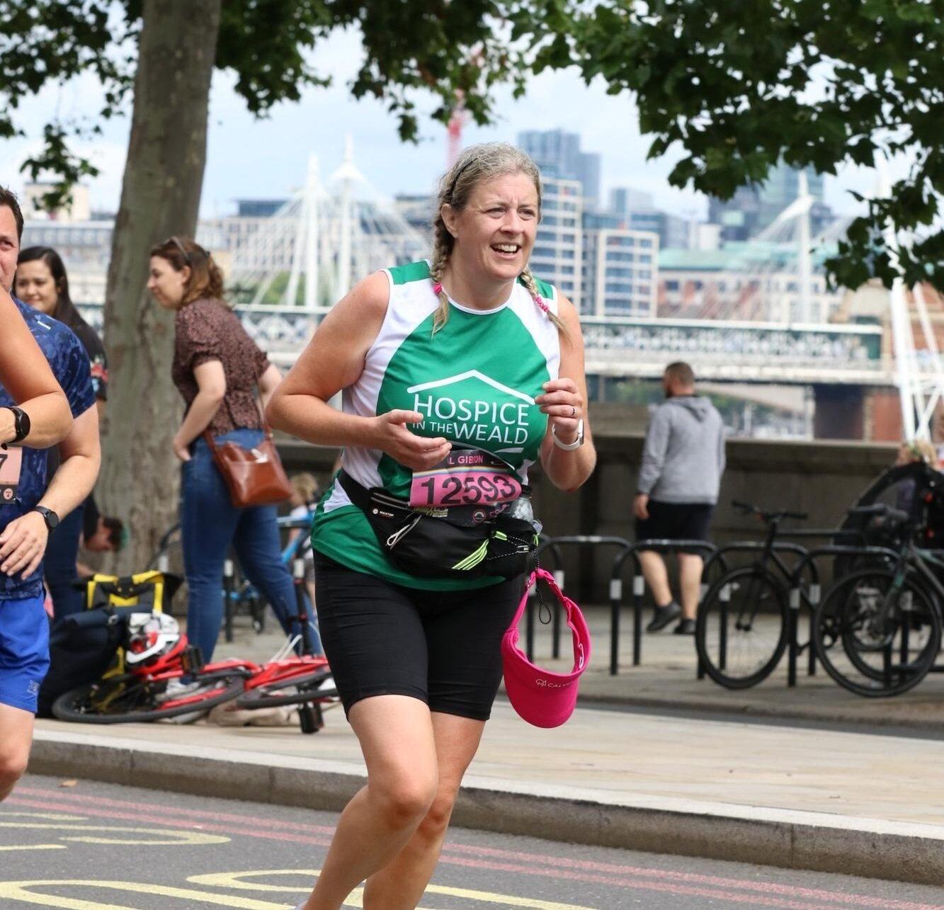 Laura Gibson running the London Landmarks Half Marathon 2021