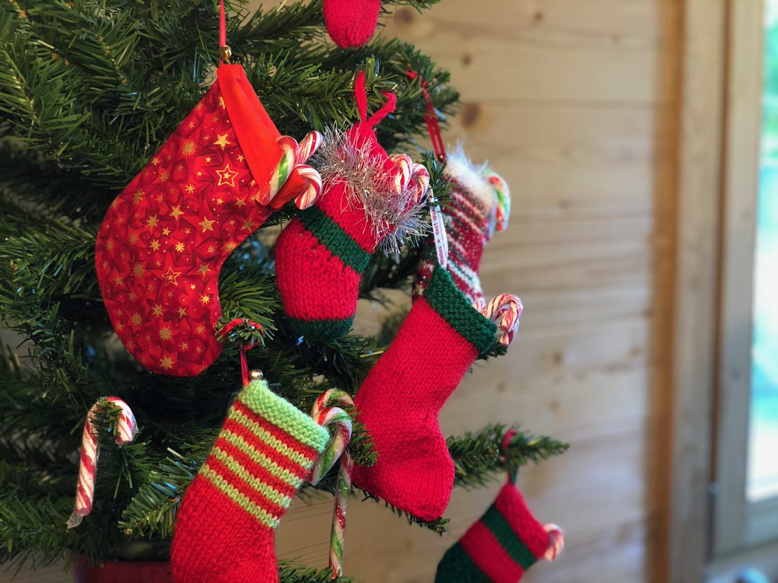 Stitch a Stockings hanging on a Fir Tree