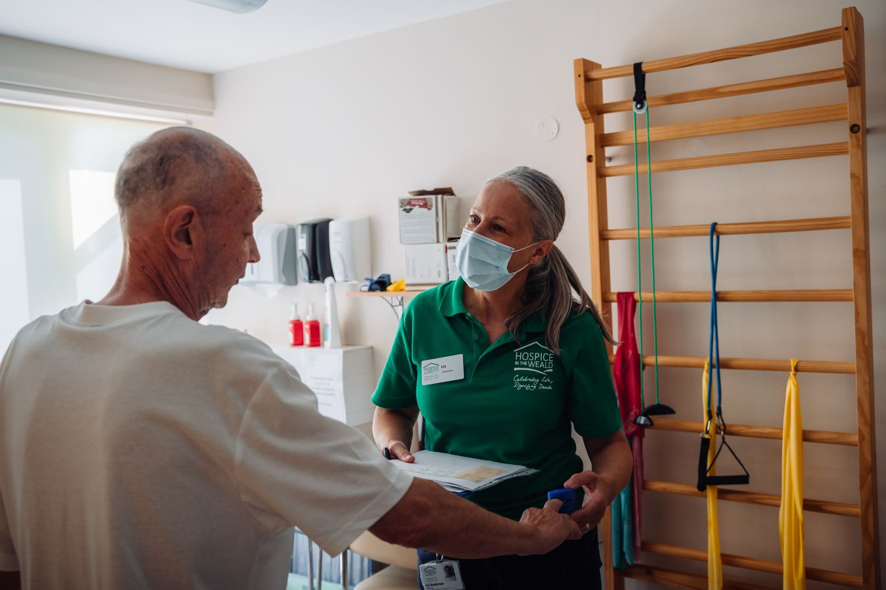 Robert a Physio Patient having his blood oxygen level checked