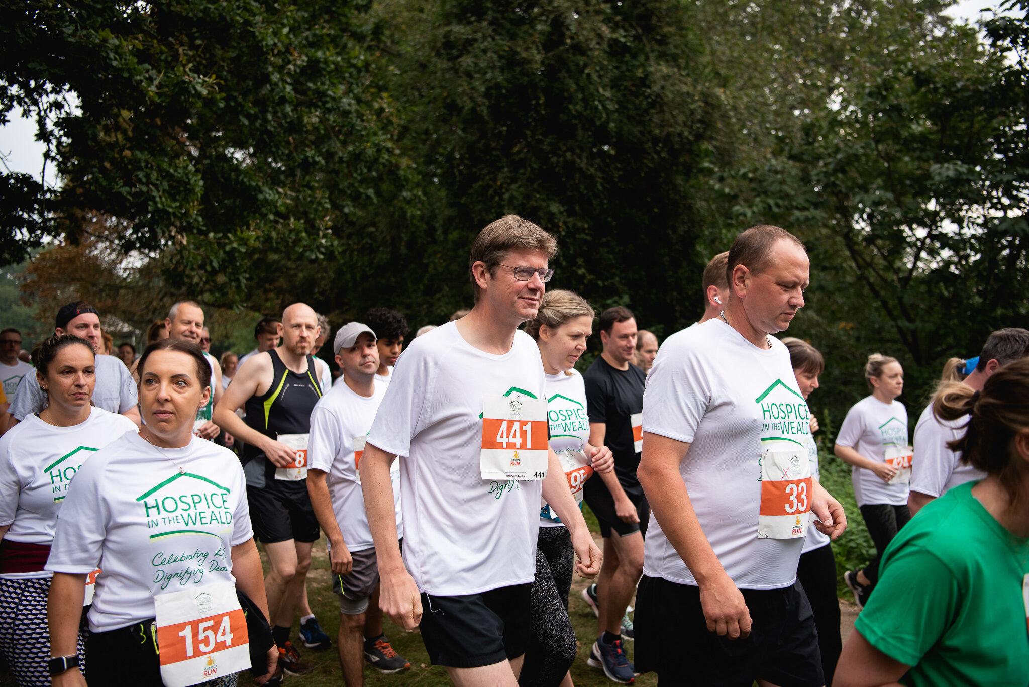 Greg Clark MP starting Hospice Run 10K