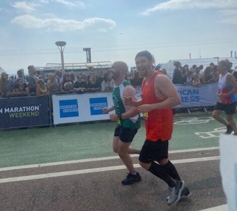 Ollie and Ciaran running the Brighton Marathon